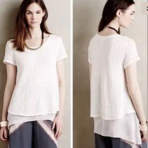 Anthropologie meadow rue Faria white layering top
